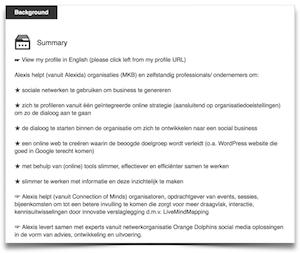 LinkedIn profiel samenvatting